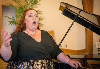 Young opera singer rehearses German Art Song.