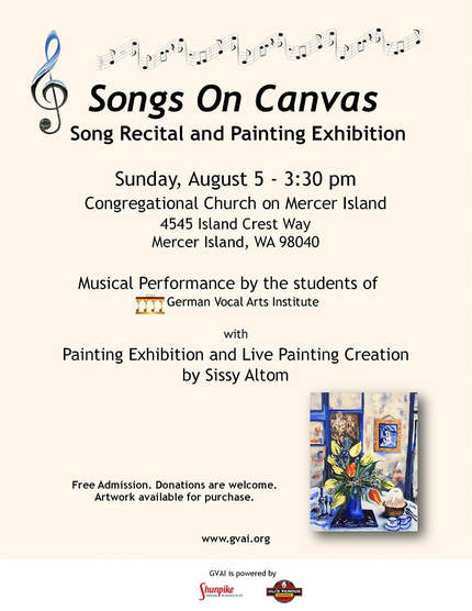 Flyer Recital Songs on Canvas